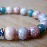 Men's handmade jewelry beaded Bracelets pink & green
