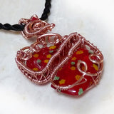 Broken Heart Glass Pendant OOAK Wire Wrapped Copper