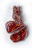 Broken Heart red necklace OOAK Wire Wrapped Copper