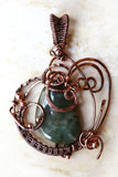 Burmese Jade Wire Wrapped Copper Wearable Art Pendant