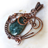 Jade & Copper art necklace w beads OOAK Pendant