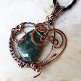Green Jade Wire Wrapped Copper Wearable Art Necklace