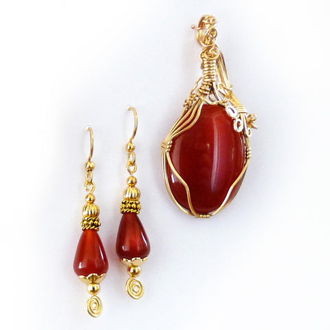 Red agate earrings & Carnelian Gold Filled wire wrap Pendant