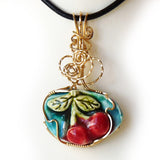 Porcelain Cherries GF Wire Wrap