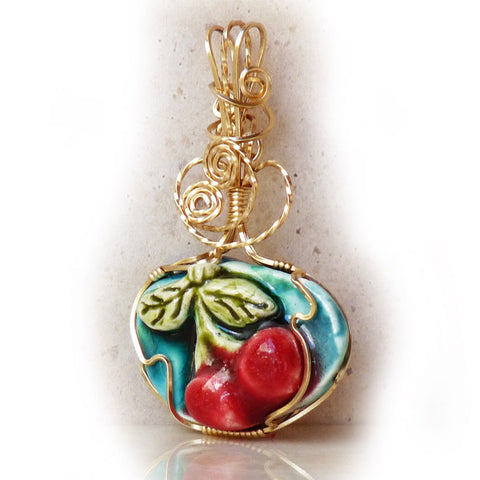 Porcelain Cherries Gold Filled pendant by Rhonda Chase.