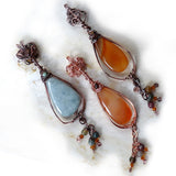Handmade Tear Drop wire wrapped Pendants. Jade & agate