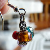 Assembly of handmade Boho Cluster Dangle Earrings