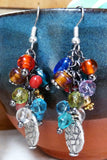 Red, orange, gold, silver, blue beaded Dangle Earrings