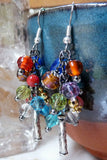 Colorful Beaded Handmade Cluster Dangle Earrings