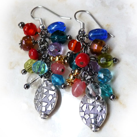 Colorful Handmade Cluster Dangle Earrings Beaded