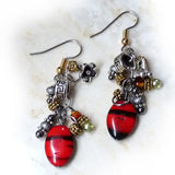 Black, Red, Silver, Gold Cluster Dangle Handmade Earrings