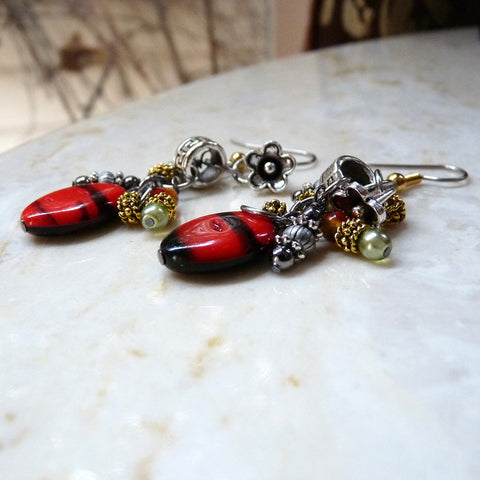 Black & Red & Silver and Gold Cluster Earrings Handmade