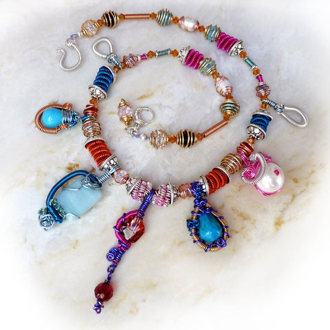 Colorful handmade necklace with wire wrapped pendants