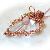wire wrapped copper angel heart pendant w gemstones