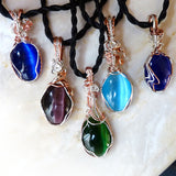 5 colorful cats eye wire wrapped pendant necklaces