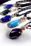 sides of 5 blue green purple cats eye wire wrap necklaces