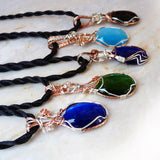5 colorful cats eye sides of  pendant necklaces