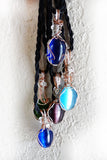 Hanging blue, green & purple cats eye silver & copper necklaces