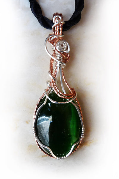 emerald green cats eye wire wrapped pendant necklace