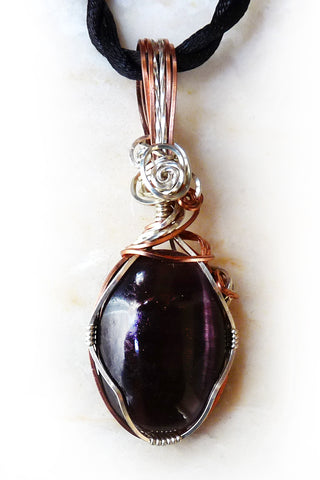 purple silver copper cats eye wire wrapped pendant