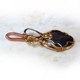 Blue Goldstone Wire Wrapped Pendant