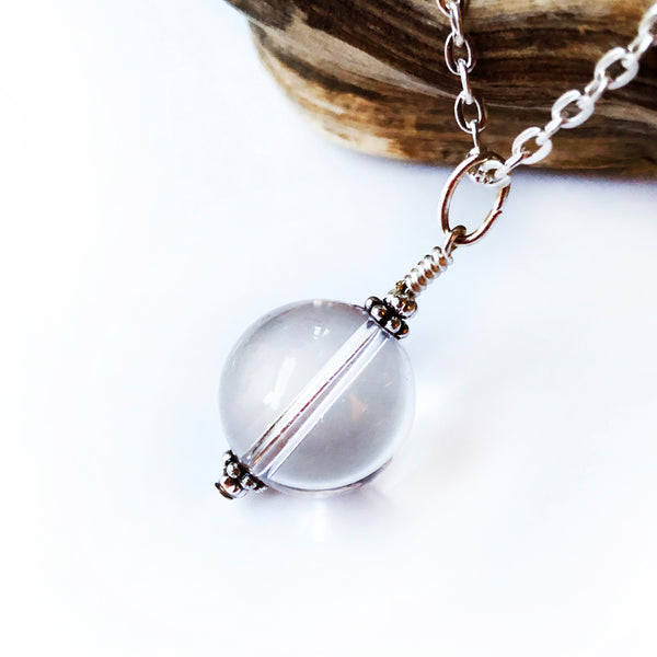 Natural Crystal Pendant Necklace - Handmade Silver Gemstone Quartz Crystal Ball