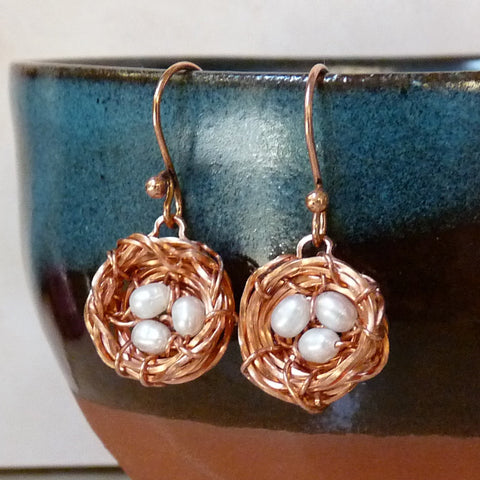 handmade solid nest earrings with bright copper finish