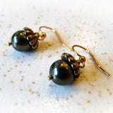 autumn fall gold and dark green handmade acorn earrings