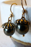 Fall gold & forest green handmade acorn earrings set