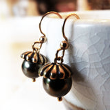 antique gold and dark green handmade acorn earrings