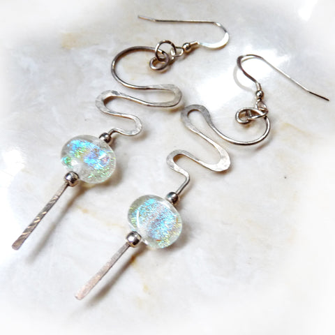 Hammered Sterling silver & Dichroic Glass dangle Earrings