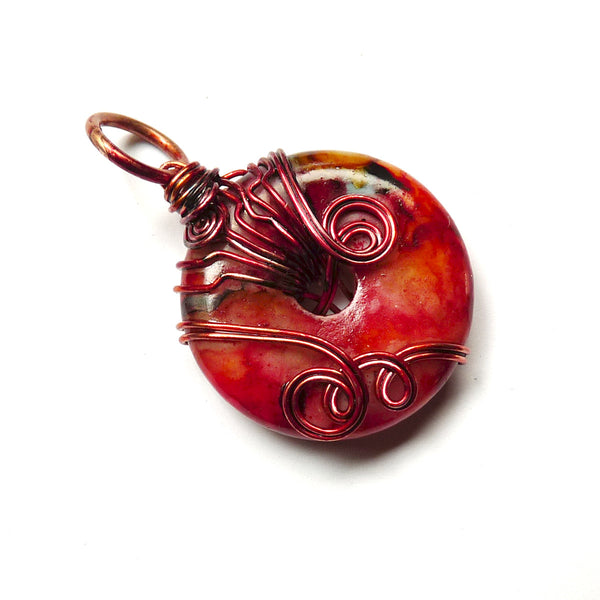 red swirl copper wire dyed gemstone pendant jewelry gift