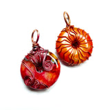 dyed yellow orange red handmade wire pendants necklaces