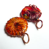 tops of yellow orange red wire wrapped pendants necklaces