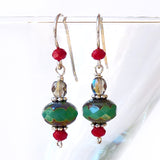 Christmas Red & Turquoise Green .925 Sterling Silver Dangle Drop Earrings Gift for her