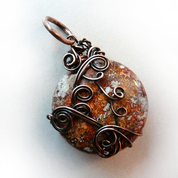 brown, orange and grey, smooth, shiny jasper pendant
