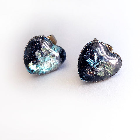 Black Opal Hearts - Faux Gemstone Earrings, Handmade Resin Heart Post Earrings