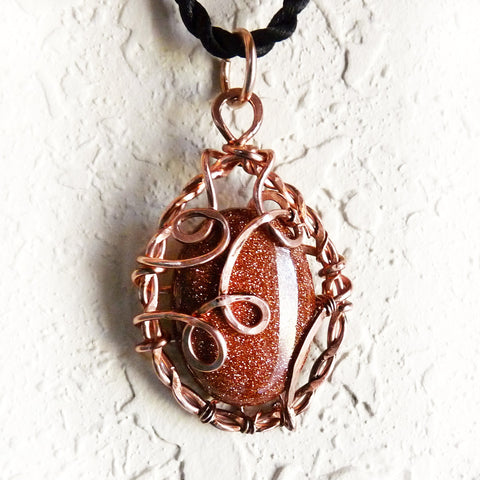 copper wire wrap pendant & shimmering brown goldstone