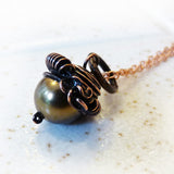 handmade crystal pearl acorn wire wrapped pendant green
