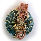 Green Tree Agate Wire Weave Wrapped Donut Pendant