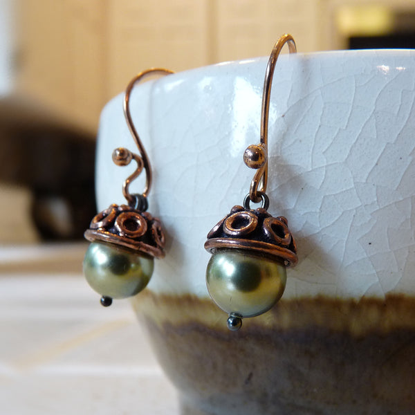 swarovski pearl and copper acorn earrings handmade green