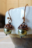 fall acorn pearl and copper earrings handmade in green