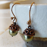 hanging pearl copper bronze green fall acorn tree earrings