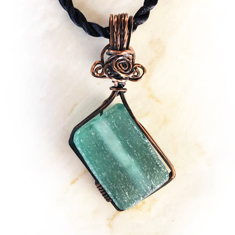 Teal Diamond Recycled Glass Pendant - Handmade Wire Wrapped Green Pendant