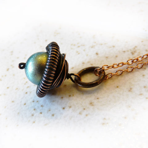 satin finish pearl & copper acorn wire wrapped pendant