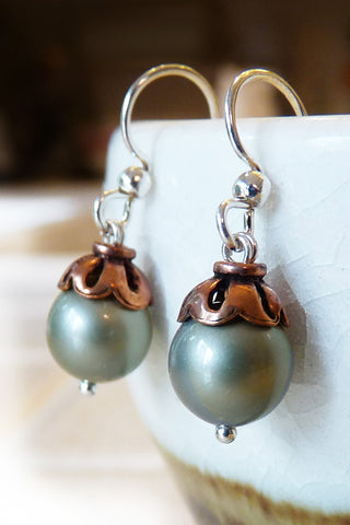 Acorn Swarovski Crystal Pearl Drop Earrings - Moss Green, Copper & Silver Dangle Earrings