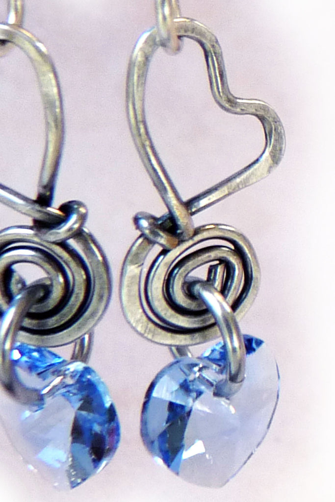 197a5d53eb9f0 Baby Blue Hearts - Crystal   Silver Wire Wrapped Earrings – Rhonda ...