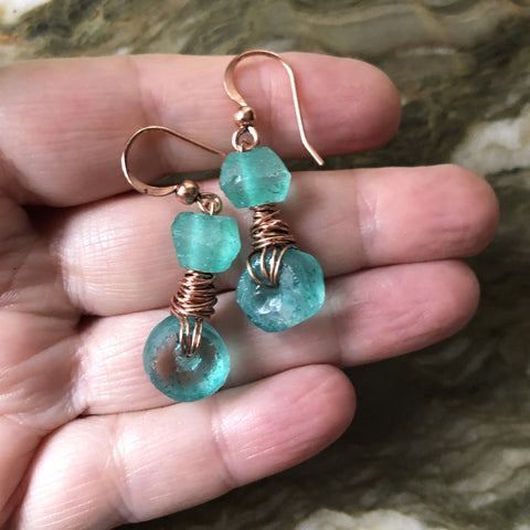 Bright Teal Green Recycled Glass & Copper Handmade Wire Wrapped Earrings - Handmade Dangle Drop Earrings