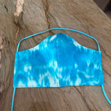 Hand Dyed! Artisan Handmade Blue Fabric Fitted Face Mask, 100% Cotton Face Covering - Washable, Reusable: Men, Women, Children - Comfortable One-of-a-Kind Mask