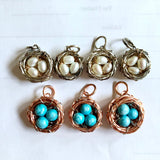 Bird's Nest Pendants with Turquoise Eggs or pearls Handmade Wire Wrapped pendants